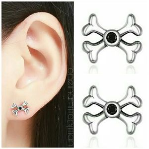 Sterling Silver CZ Halloween Crossbone Earrings